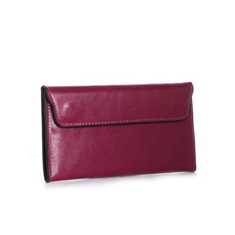 Dazz Calf Leather Magnetic Flap Wallet - Pink