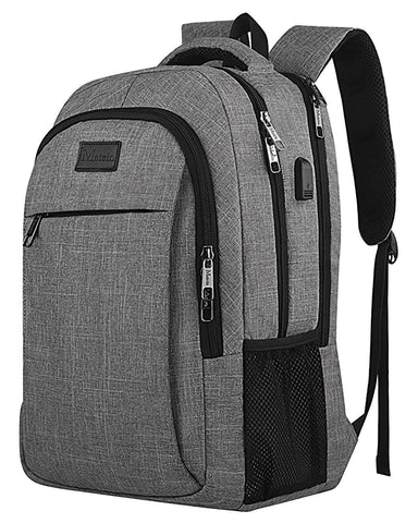 "Matein Mlassic Anti-Theft Laptop Backpack w/ Charging Port (Fits 15.6"") - Grey"