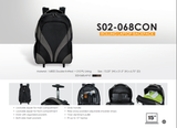 Bagman S02-068CON-01 Rolling Laptop Backpack - Black/Grey