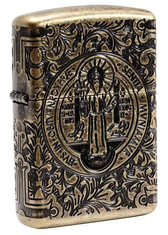 Zippo St. Benedict Design Armor Antique Brass Windproof Lighter (29719) - Oribags.com