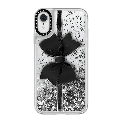 "(Clearance) Casetify Black Bow iPhone XR 6.1"" Glitter Collection - Silver"