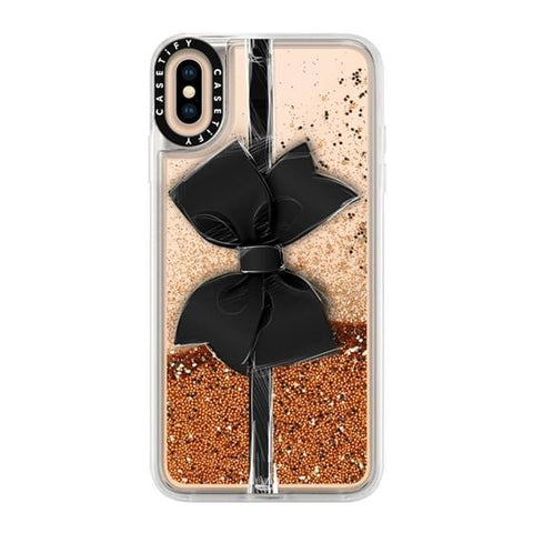 "Casetify Black Bow iPhone XS Max 6.5"" Glitter Collection - Gold Chrome"