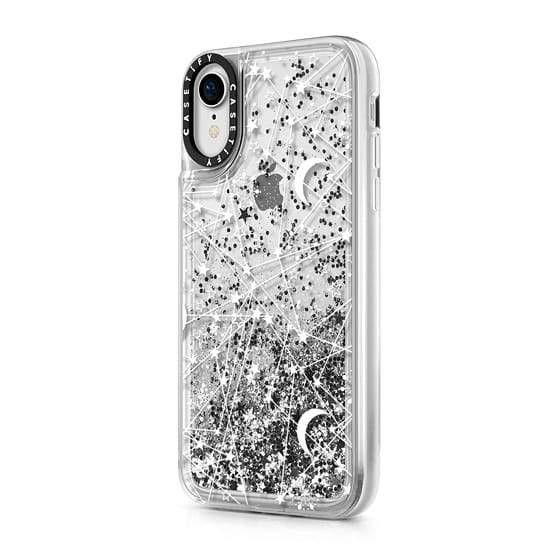 "(Clearance) Casetify Sun Moon Stars Galaxy iPhone XR 6.1"" Glitter Collection - Silver - Oribags.com"