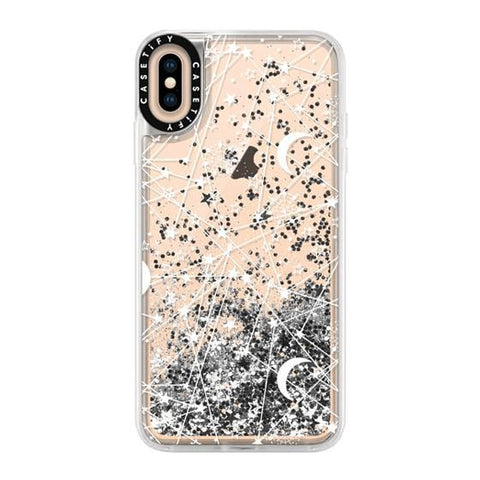 "Casetify Sun Moon Stars White Galaxy iPhone XS Max 6.5"" Glitter Collection - Silver"
