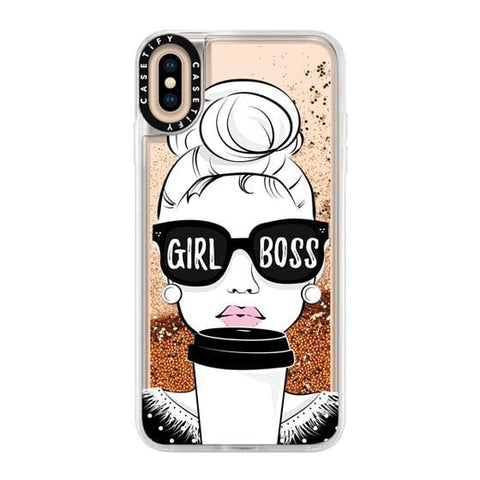"Casetify Girl Boss iPhone XS Max 6.5"" Glitter Collection - Gold Chrome"