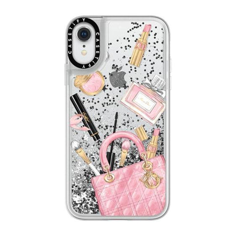 "Casetify Cosmetic Makeup Fashion iPhone XR 6.1"" Glitter Collection - Silver"