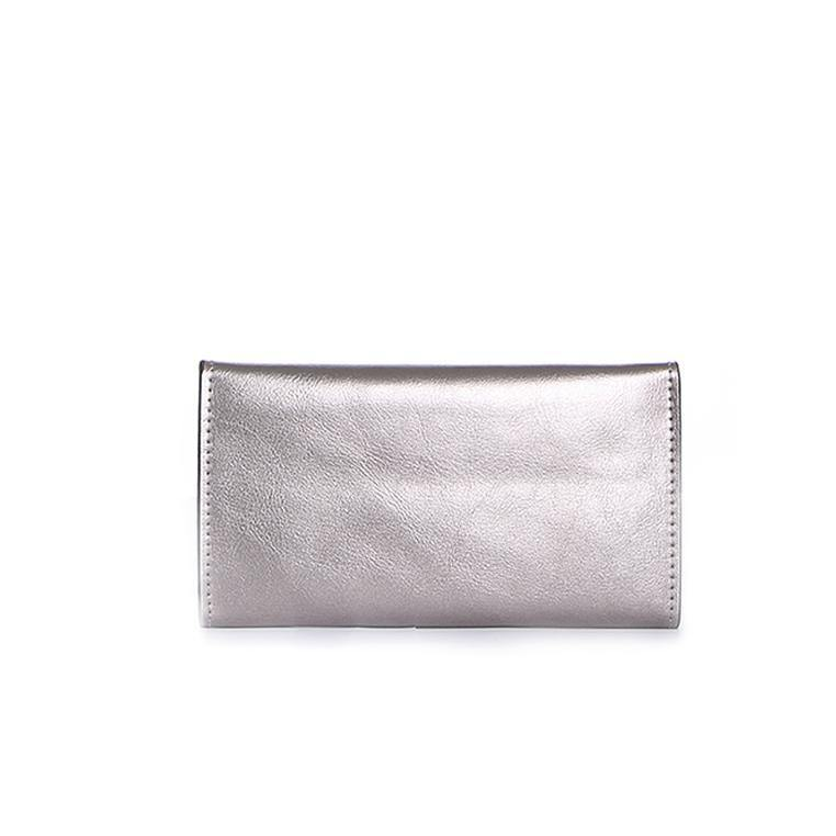 (Clearance) Dazz Calf Leather Magnetic Flap Wallet - Silver - Oribags.com