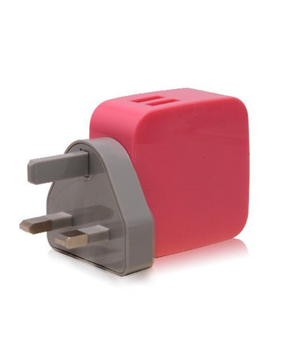 Monocozzi Smighty 4.2A Dual USB Wall Charger with Interchangeable Multinational Connectors - Pink - oribags2 - 1