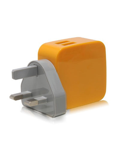 Monocozzi Smighty 4.2A Dual USB Wall Charger with Interchangeable Multinational Connectors - Yellow - oribags2 - 1
