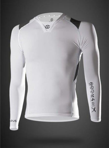 VIRUS MEN'S STAY COOL LONG SLEEVE FORM COMPRESSION V-NECK - WHITE - MMAoutfit - 1