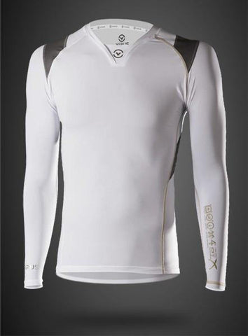 VIRUS MEN'S ENERGY SERIES BIOCERAMIC X-FORM POSTURE SUPPORT LONG SLEEVE COMPRESSION TOP - RECOVERY + ENDURANCE - WHITE - MMAoutfit - 1