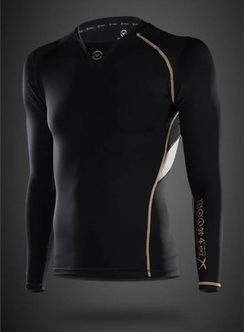VIRUS MEN'S ENERGY SERIES BIOCERAMIC X-FORM POSTURE SUPPORT LONG SLEEVE COMPRESSION TOP - RECOVERY + ENDURANCE - BLACK - MMAoutfit - 1