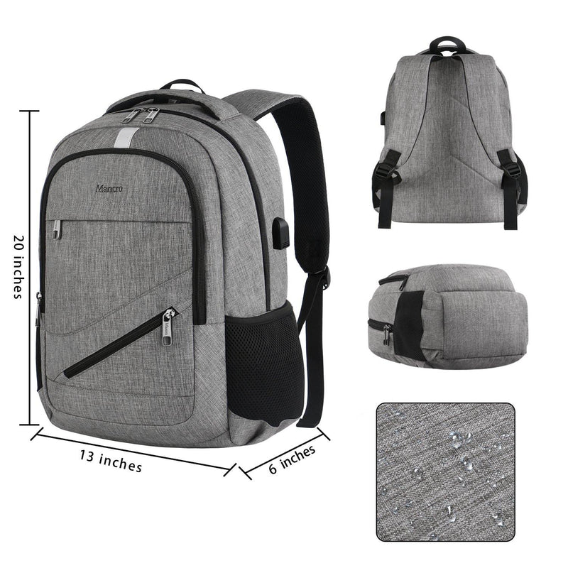 "Matein NTE Anti-Theft Laptop Backpack w/ Charging Port (Fits Up to 15"") - Grey - Oribags.com"