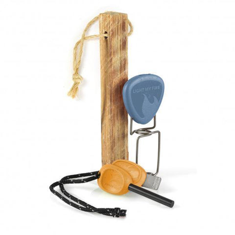LightMyFire FireLighting Kit BIO Swedish FireSteel 2.0 Scout Fire Starter 3pcs - Hazyblue / Rustyorange
