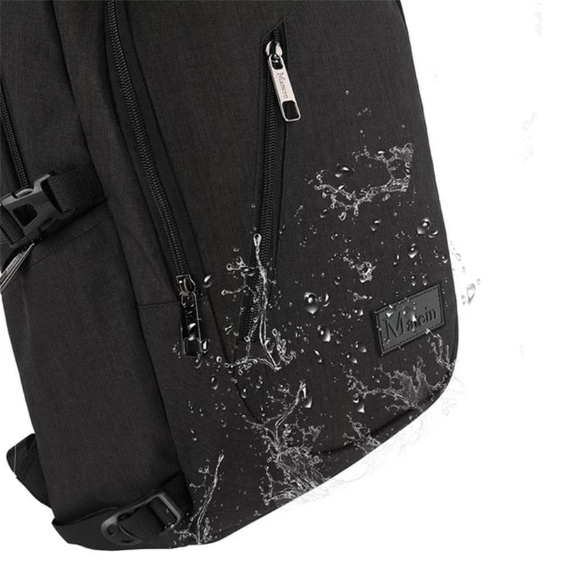 "Matein Slim Anti-Theft Laptop Backpack w/ Charging Port (Fits 15"" Laptop)  - Black - Oribags.com"