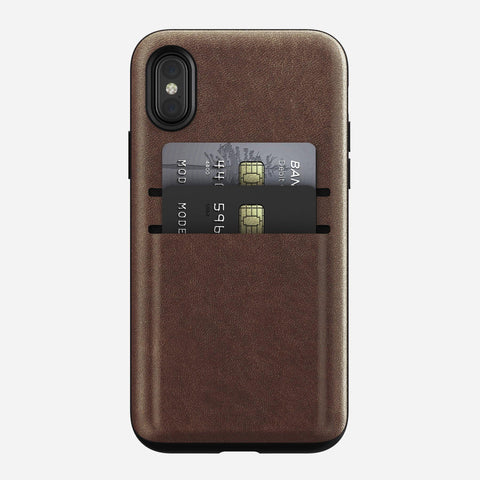 Nomad Wallet Card Case for iPhone X/XS - Rustic Brown