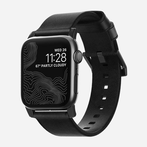 Nomad Modern Leather Strap for All Apple Watch Series ( 44mm / 42 mm) - Black Strap + Black Hardware