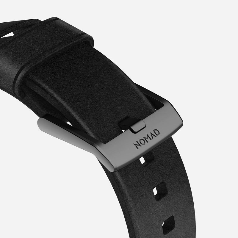Nomad Modern Leather Strap for All Apple Watch Series ( 44mm / 42 mm) - Black Strap + Black Hardware - Oribags.com