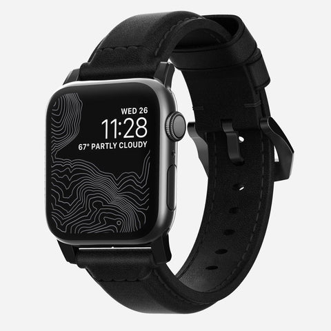 Nomad Classic Strap for All Apple Watch Series ( 44mm / 42 mm) - Black Strap + Black Hardware