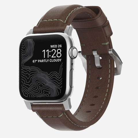 Nomad Traditional Strap for Apple Watch Series 4 / 3 / 2 / 1 ( 44mm / 42 mm) - Brown Strap + Silver Hardware