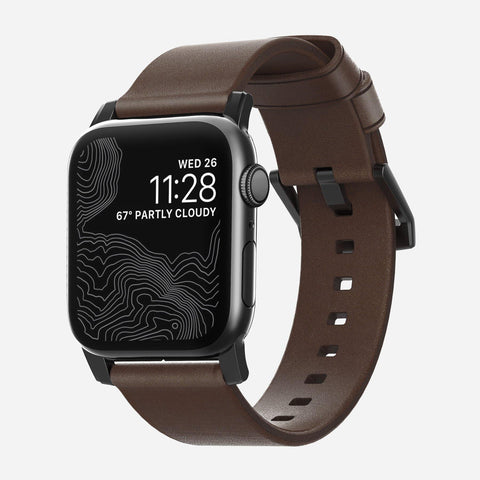 Nomad Modern Leather Strap for Apple Watch Series 4 / 3 / 2 / 1 ( 44mm / 42 mm) - Brown Strap + Black Hardware
