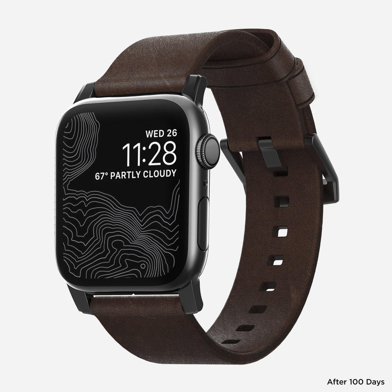 Nomad Modern Leather Strap for All Apple Watch Series ( 44mm / 42 mm) - Brown Strap + Black Hardware - Oribags.com