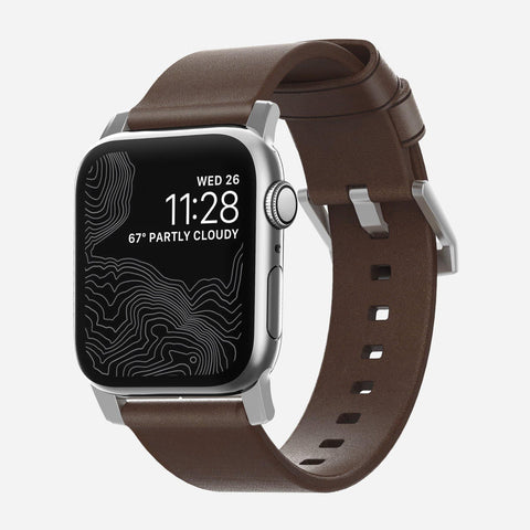 Nomad Modern Leather Strap for Apple Watch Series 4 / 3 / 2 / 1 ( 44mm / 42 mm) - Brown Strap + Silver Hardware