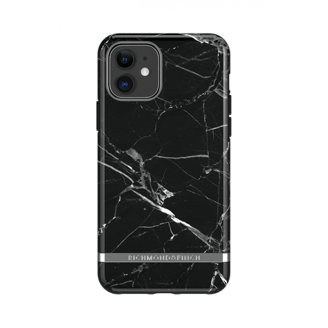 (Clearance) Richmond & Finch Black Marble IPhone 11 Case - Silver Details