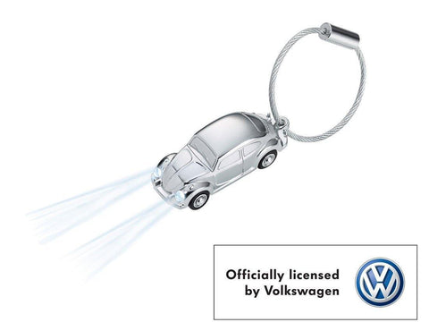 TROIKA VW Beetle LED Light Keychain Chrome - VW Officially Licensed