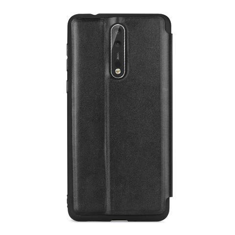 Meleovo Napa Flip Case for Nokia 8 - Black - Oribags.com