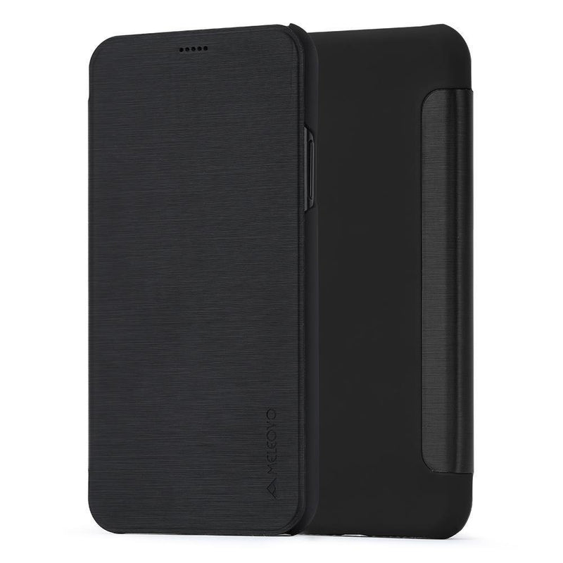 Meleovo Smart Flip Case for Apple iPhone X - Black - Oribags.com