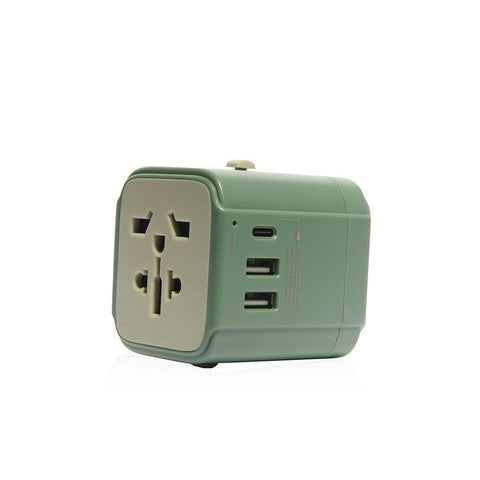 MONOCOZZI Bon Voyage | Travel Adaptor with 4.5A Dual USB and USB-C Connector - Green