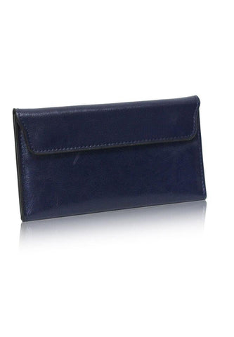 Dazz Calf Leather Magnetic Flap Wallet - Blue
