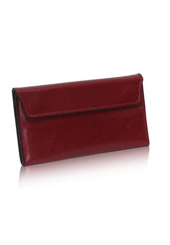 Dazz Calf Leather Magnetic Flap Wallet - Red