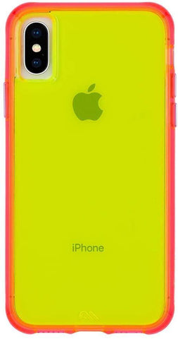 (Clearance) Casemate IPhone XS/X Tough Clear Case - Green/Pink Neon