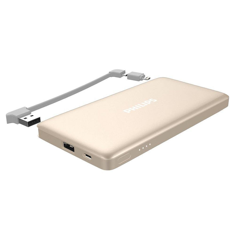 (Clearance) Philips Powerbank 10000mAh Detachable MFI Cable DLP6101 - Gold - Oribags.com