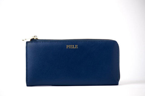 (Clearance) Piele Fortuna Zip Wallet - Navy Blue