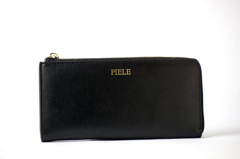 (Clearance) Piele Fortuna Zip Wallet - Black