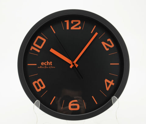 "ECHT 14"" Plastic Wall Clock Orange Numbering - Black - oribags2"