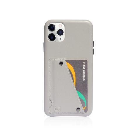 (Clearance) Monocozzi Exquisite|Genuine Leather Shockproof back cover for iPhone 11 Pro - Light Grey - Oribags.com