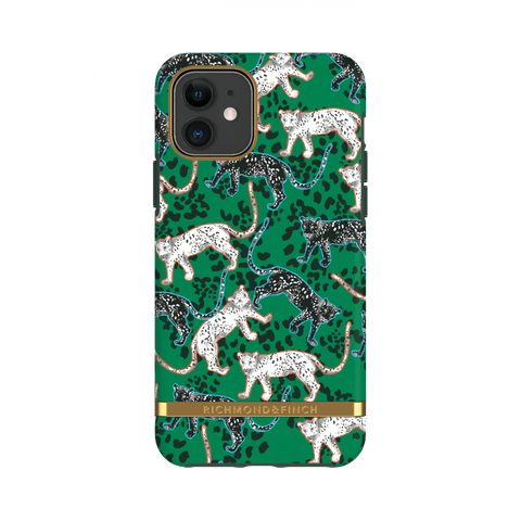 (Clearance) Richmond & Finch Green Leopard IPhone 11 Case - Gold Details