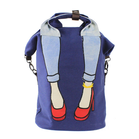 DAZZ HEELS CANVAS BACKPACK - BLUE