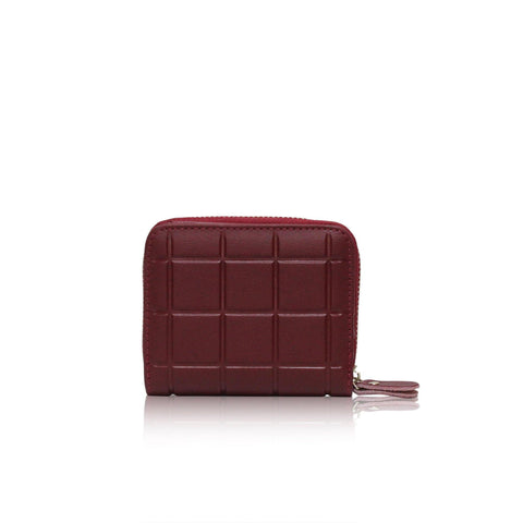 Dazz Calf Leather Mini Cube Wallet - Red