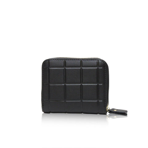 Dazz Calf Leather Mini Cube Wallet - Black