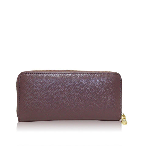 Dazz Calf Leather Classic Zip Up Wallet - Mauve Pink