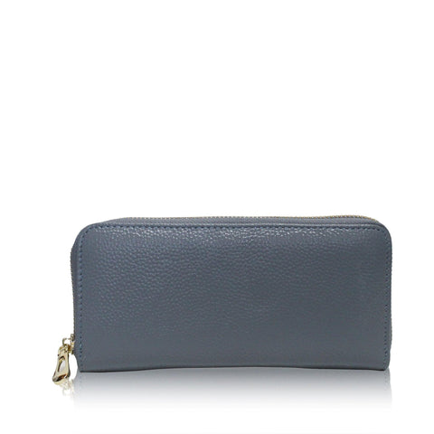 Dazz Calf Leather Classic Zip Up Wallet - Blue