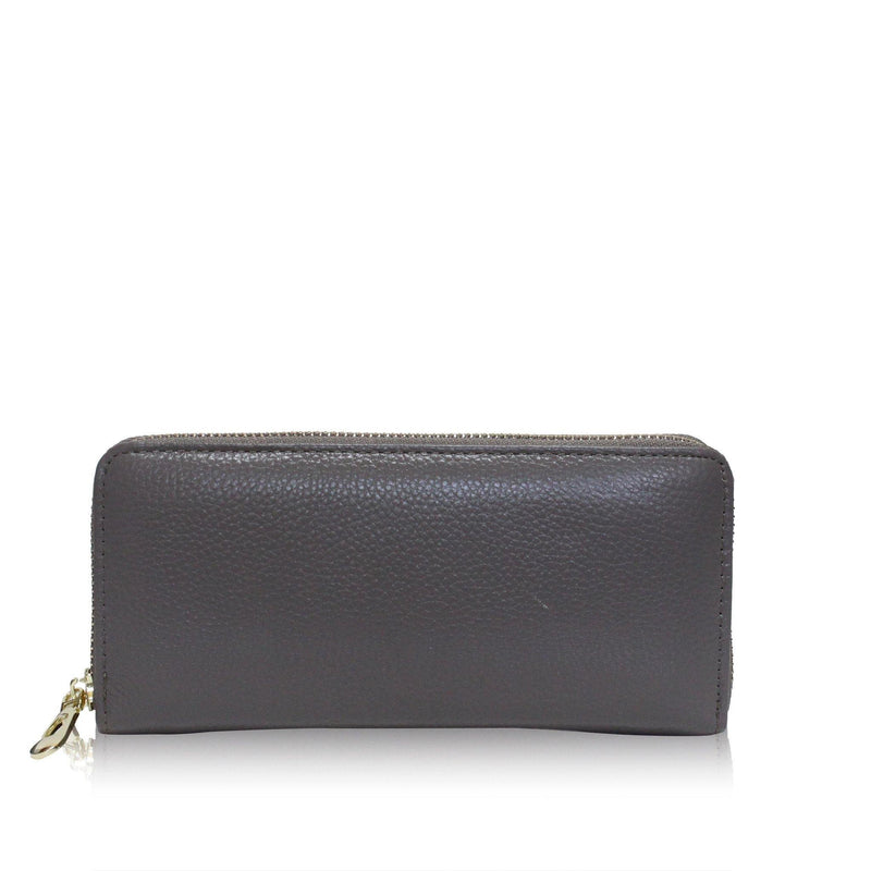 (Clearance) Dazz Calf Leather Classic Zip Up Wallet - Grey - Oribags.com