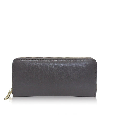 Dazz Calf Leather Classic Zip Up Wallet - Grey