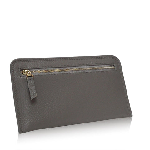 Dazz Calf Leather Zipper Wallet - Grey