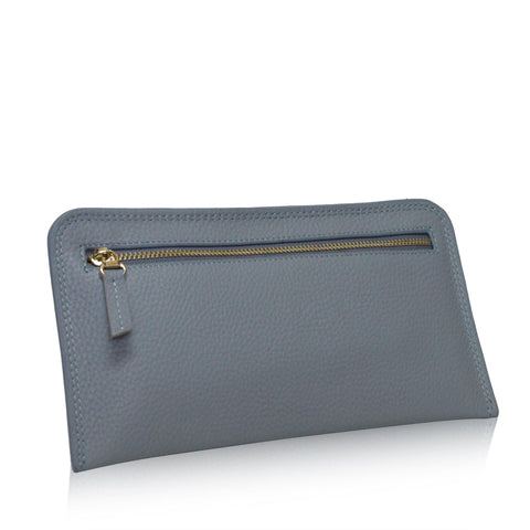 Dazz Calf Leather Zipper Wallet - Blue